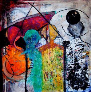 """Title - Monks   Size - 36"""" x 36""""   Medium - Mixed Media on canvas"""