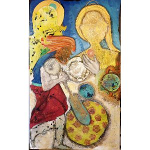 Title - Monks 3 | Size - 36 inches x 60 inches | Medium - Mixed media on canvas