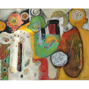 Title - Monks 4 | Size - 60 inches x 48 inches | Medium - Mixed media on canvas
