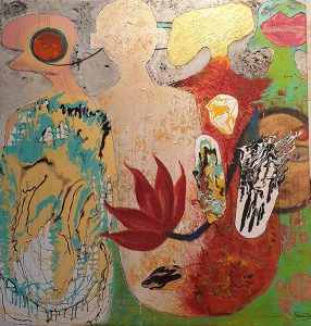 Title - Monks 7 | Size - 60 inches x 48 inches | Medium - Mixed media on canvas