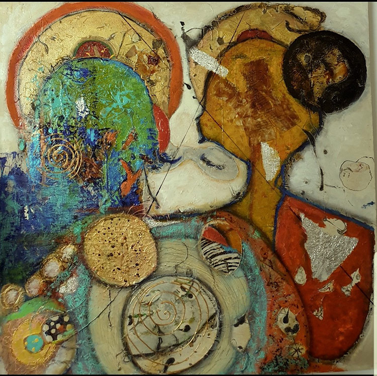 Title - Monks 8 | Size - 36 inches x 36 inches | Medium - Mixed media on canvas