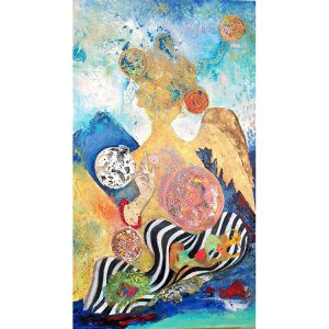 Title - Angel Brush Past 1 | Size - 36 inches x 60 inches | Medium - Mixed media on canvas