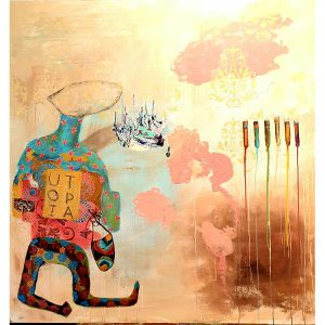 Title - Utopia | Size - 40 inches x 40 inches | Medium - Mixed media on canvas
