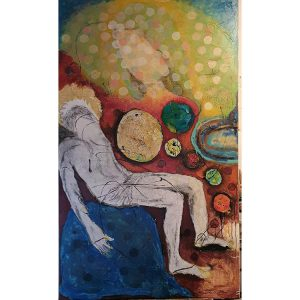 Title - La Pieta | Size - 36 inches x 60 inches | Medium - Mixed media on canvas